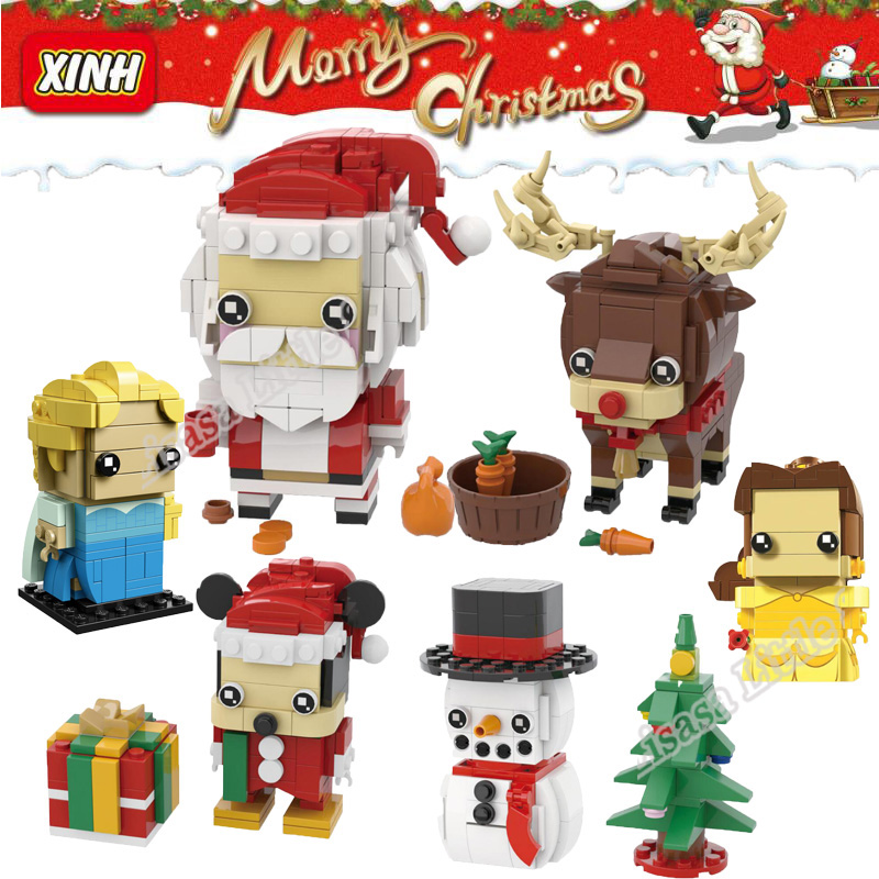 New Brickheadz Bell Beauty And The Beast Girl Friends Princess Creator Winter Legoinglys Christmas Tree Snow Toys For Children