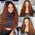 Ombre curly Wig PrePlucked lace front wig Brazilian human hair wigs for women 13x4 lace wig baby hair 4X4 Closure Wig Ali Joyce