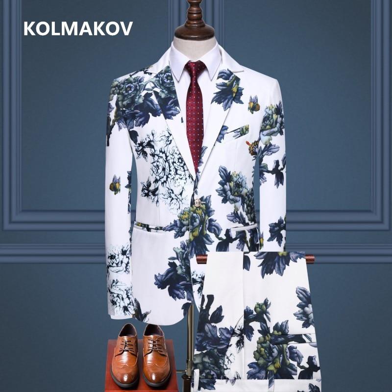 (Jacket + Trousers)2019 New Style Wedding Flower Color Suit Men,blazer Men, High Quality Business Suits,men's Dress Suits