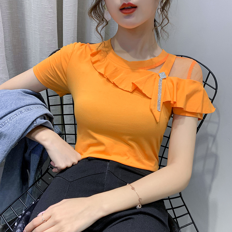 2020 New Summer Sexy O-Neck Patchwork Ruffles T-shirt Women Cotton Tops Clothes Sleeve Short Shirt Camiseta Mujer Tees T01901