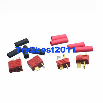 DHL/EMS 100 Pairs Deans Nylon T Plug Lipo Battery Connectors With Heat Shrink -C1