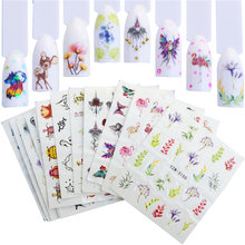 12 Pcs Nail Sticker Bloem Elegante Watermerk Slider Sets Kleurrijke Polish Decals Wraps Voor Manicure Nail Art Accessoire(China)