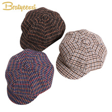 2019 Fashion Baby Hat for Girls Wool Winter Baby Cap Vintage Plaid Children Hats for Girls Beret Cap Kids Baby Girl Hat 2-6 Year new 2018 baby hat for girls vintage autumn winter baby cap kids adjustable infant girl beret hat baby accessories 1 pc