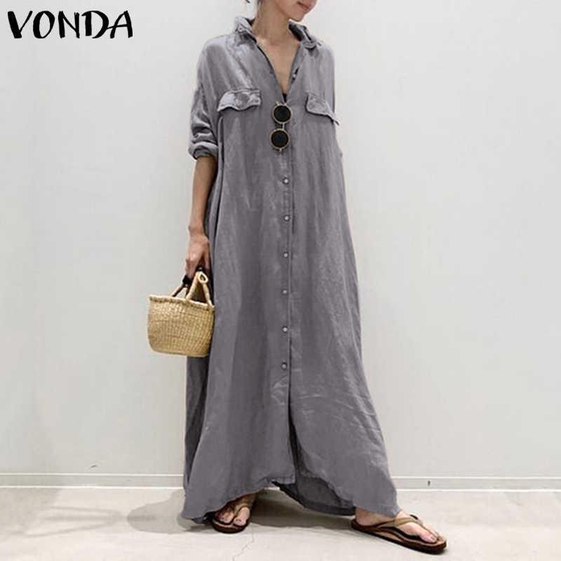 Vestido de mujer Vintage Sexy cuello vuelto botones camisa Maxi vestido largo VONDA 2019 de talla grande Vestidos de fiesta bata mujer S-5XL