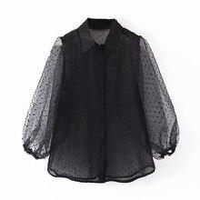 Dots Embroidery Women Elegant Organza Blouse 2019 Lantren Sleeve Black See Throu