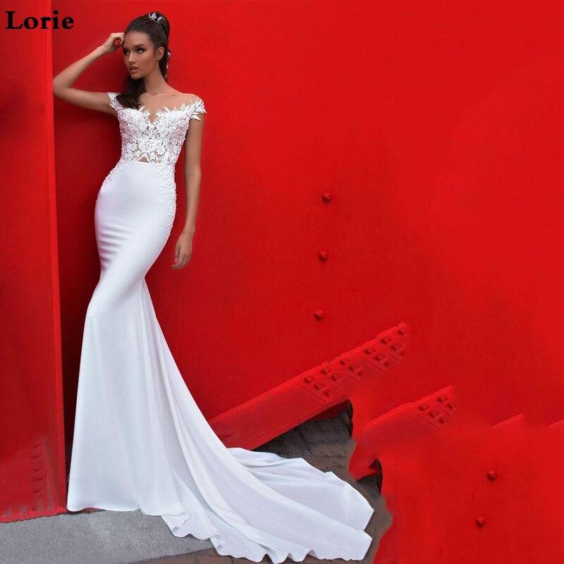LORIE Mermaid Wedding Dress Cap Sleeves 2019 Lace  Bridal Dresses Vestidos De Novia Vintage  Backless Wedding Gowns