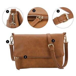 Image 5 - AFKOMST Casual Women Small Crossbody Bag Brown Vintage Satchel Purse Soft Lightweight Front Flap Design Messenger Bag CT30080