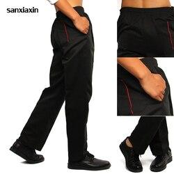 Sanxiaxin alta qualidade hotel chef calças de cintura elástica catering garçom calças de trabalho restaurante confortável chef calças por atacado