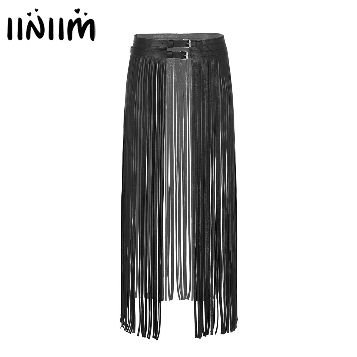 Women Ladies Fashion Clubwear Leather Buckles Gothic Punk Long Fringe Tassel Skirt Belt Nightclub Costume Cosplay Parties Skirts