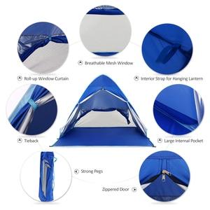 Image 4 - KEUMER 1 2 kişi açık plaj çadırı Pop up açık kamp balıkçı çadırı taşınabilir su geçirmez UV koruyucu çadır barınak