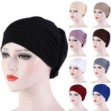 Feminino elástico macio jérsei hijabs cor sólida fácil boné moda muçulmana hijab quimio chapéus turbante bandana acessórios para o cabelo