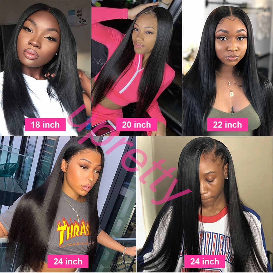 Upretty Hair Pre Plucked Full Lace Human Hair Wigs Brazilian Straight Wig With Baby Hair 200 Density Glueless Full Lace Wigs