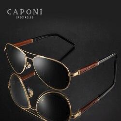 CAPONI Holz Sonnenbrille Männer Polarisierte Pilot Fahren Legierung Rahmen Gläser Luxus Marke Designer Sonnenbrille Für Frauen UV400 CP409