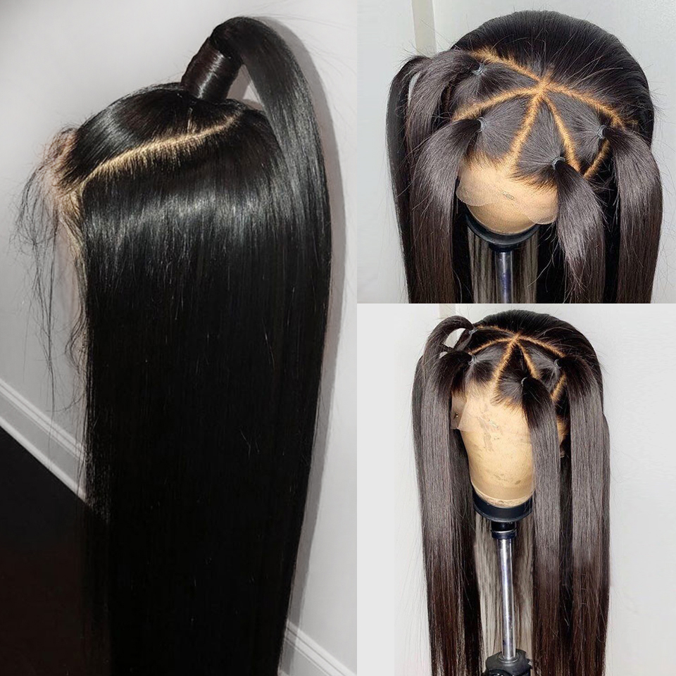 Malaysian Remy Hair Silky Straight 4*4 Silk Base Wigs Full Lace Human Hair Wigs For Women Silk Top lace Wigs with Baby Hair 180
