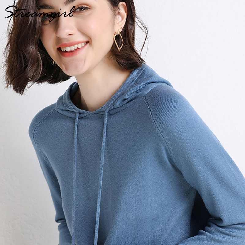 여성 후드 티 스웨터 긴 소매 여성 스웨터 후드 티 여성 니트 스웨터 한국 후드 티셔츠 스웨터