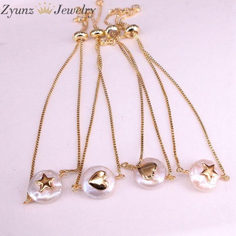 Image 2 - 10PCS, Natural freshwater pearl with cz Bracelet heart star shape pearl Bracelet adjustable charm gold Bangle JewelryChain & Link Bracelets   -