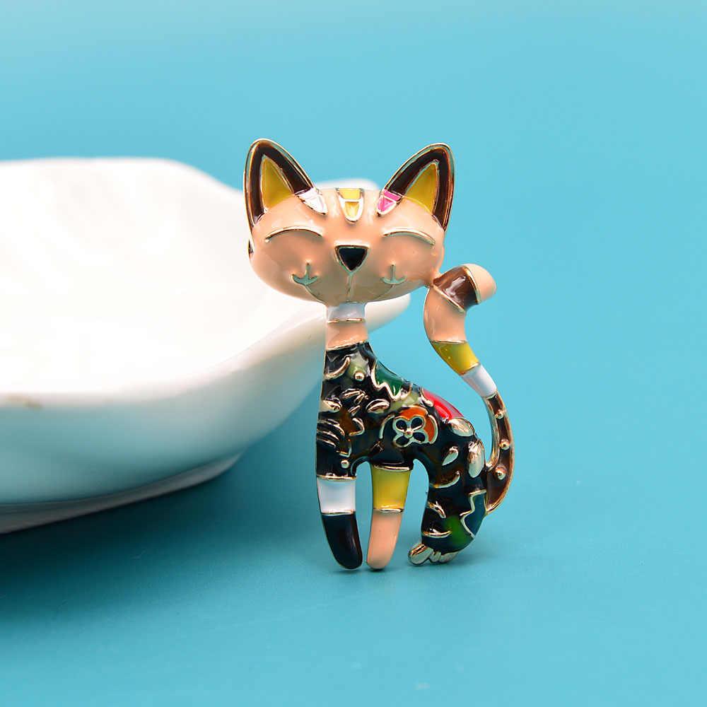 Cindy Xiang Nieuwe Collectie Leuke Emaille Verf Kat Broche Unisex Vrouwen En Mannen Broche Pin Animal Ontwerp Mode-sieraden 2 kleuren