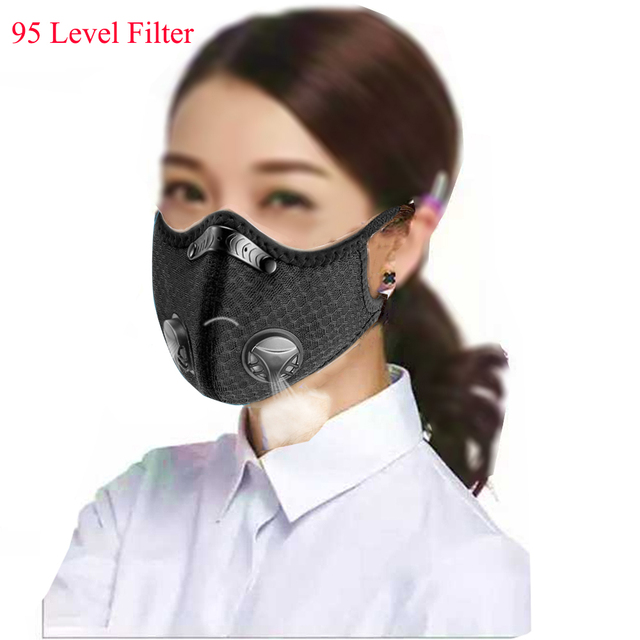 Sports/cycling mask flu facial masks anti pollution mask for running 95 level replaceable filter 2