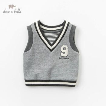 DBX13312 dave bella spring baby boy sleeveless sweater knitting v-neck kids vest 1 pc image