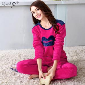 Image 2 - Đáng Yêu Môi Hoa Văn Dép Nỉ Bộ Đồ Ngủ Mùa Đông Dày Nữ Pyjamas Bộ Đồ Ngủ Bộ Đồ Ngủ Dễ Thương Pijama Quần Áo Mặc Ở Nhà Nữ Phù Hợp Với