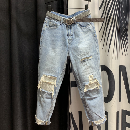Rhinestone Jeans Women's Spring New High-Waist Skinny Cropped Dad Ripped Harem Pants Denim Pants Ladies Streetwear Loose Jeans