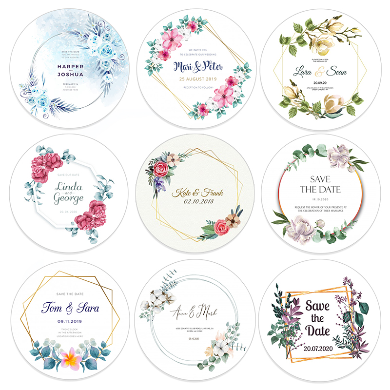96pcs 4.5cm Customized Add Your Names And Date Wedding Stickers Invitations Seals Candy Favors Gift Boxes Paper Labels Adhesive