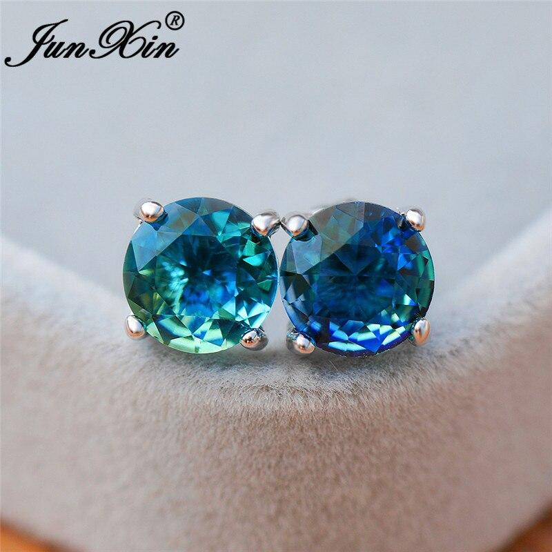 Cute Mystic Fire Crystal Stone Round Stud Earrings For Women White Gold Rainbow Blue Green Zircon Double Earrings Wedding