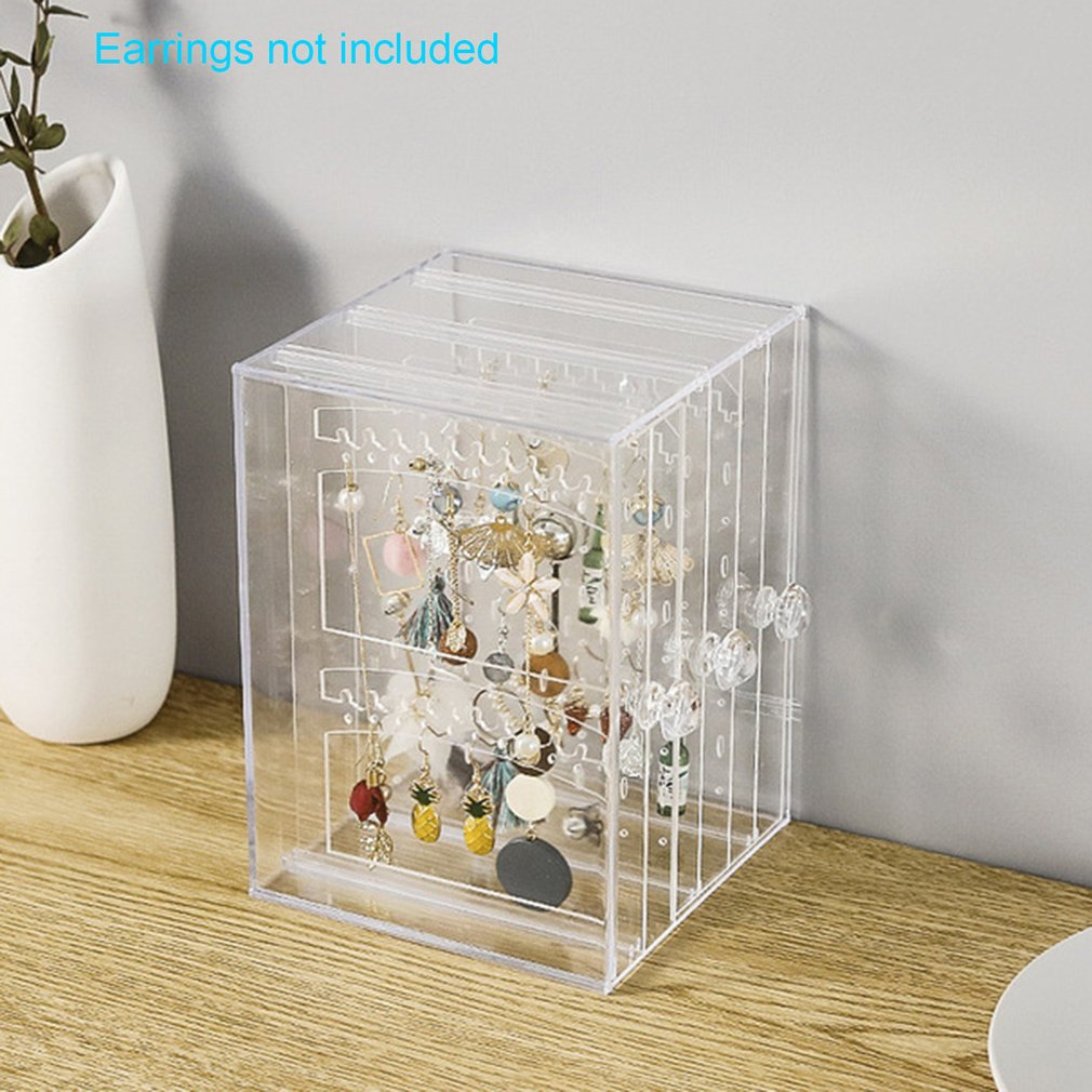 Multifunctional Jewelry Storage Box  Plastic Transparent  Dust Earrings Finishing Box Desktop Vertical Lagerung Rack 1 Piece