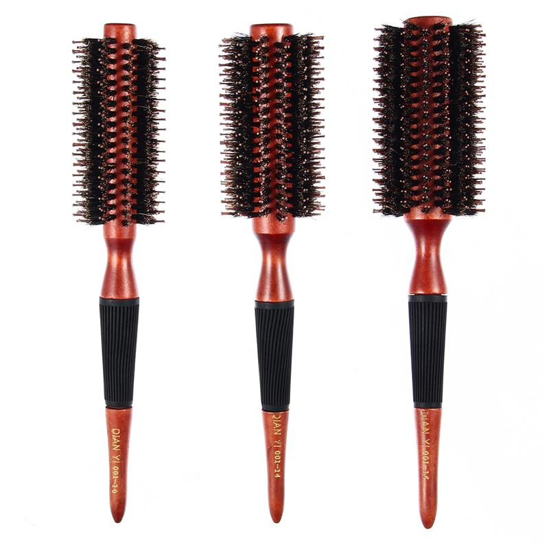 3 Size Hair Brush Comb Round Anti-static Curly Brush Natural Bristle Wood Handle Hair Styling Comb Salon Home Hair Dress Tools