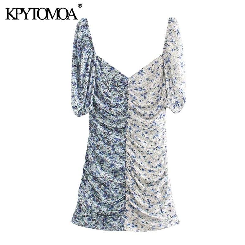 KPYTOMOA Women 2020 Chic Fashion Floral Print Patchwork Draped Mini Dress Vintage V Neck Puff Sleeve Female Dresses Vestidos