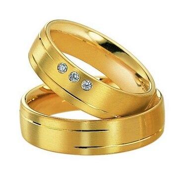 Ensembles de bagues de fiançailles en titane de santé plaqué or jaune personnalisé pour dames femmes hommes