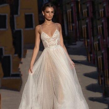 Eightree Beach Wedding Dress Boho vestido de noiva Bohemian Lace Bridal Dress Backless Spaghetti Straps V Neck Wedding Gowns 3