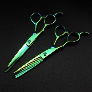 Image 3 - 5 kolorów dostosuj japonia 440c lewa ręka 6 cięcia nożyczki do włosów zestaw do cięcia fryzjer strzyżenie nożyce do cieniowania fryzjer nożyczki