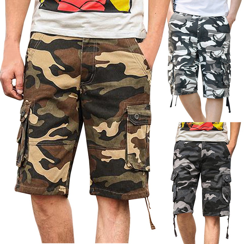 Camouflage Cargo Shorts Summer Men's Baggy Shorts Mens Multi Pocket Military Shorts Zipper Cargo Shorts Trousers