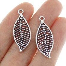 25 pçs 28x12mm antigo prata cor folhas encantos folha pingente para fazer jóias diy jóias descobertas