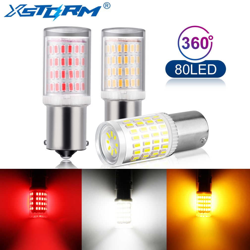 1Pc 1156 BA15S <font><b>P21W</b></font> LED Bulbs 1157 BAY15D P21/5W Led Lamp R5W R10W S25 Car Turn Signal Lights Reverse DRL Auto White <font><b>Red</b></font> Yellow image