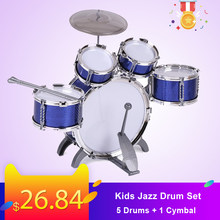 Crianças conjunto de tambor jazz kit musical instrumento educativo brinquedo 5 tambores + 1 pratos com tambores pequenos tambores para crianças