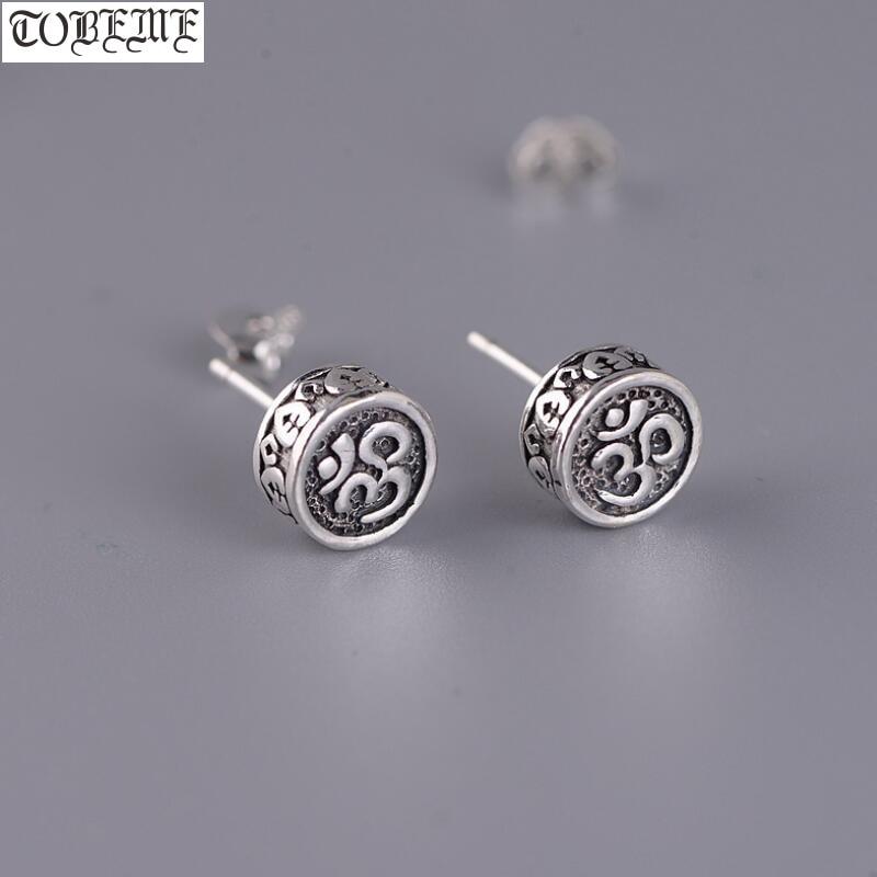 100% 925 Silver Tibetan Earrings Vintage 925 Silver Buddhist OM Earring Sterling Silver Good Luck Earring