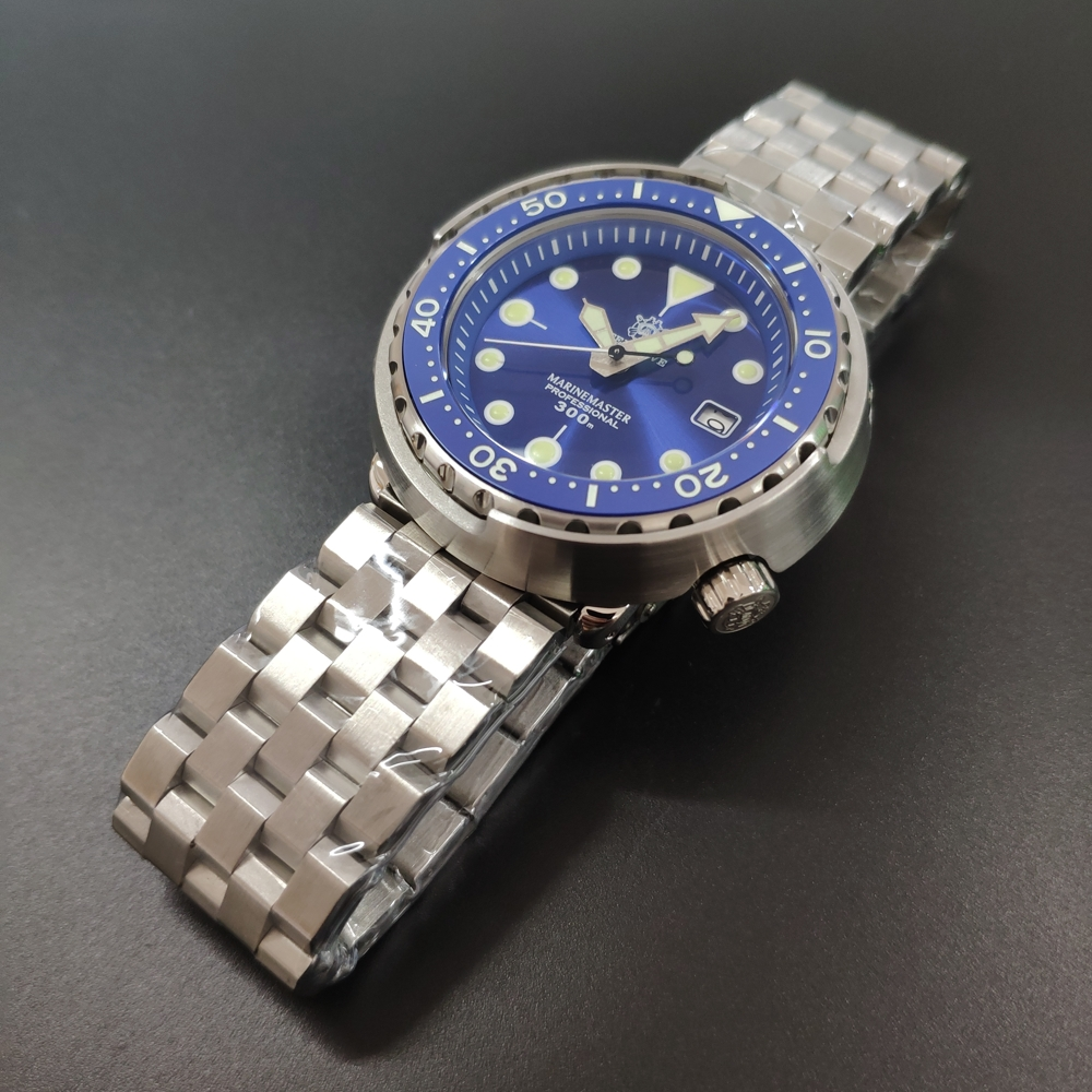 Canned Tuna Dive Watch Super Luminous NH35 Automatic Watch Man Mechanical Watch 300M Diver Watches Sapphire Crystal 1975 Blue