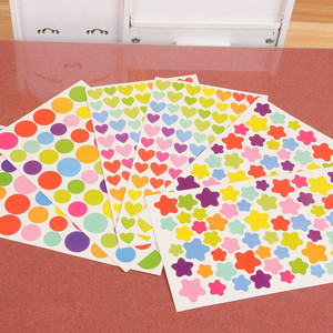 6PCS DIY Cute Sticker Diary Planner Colorful Heart Star Pentagram Decoration Journal Scrapbook Albums Photo Toys For Kids Gift