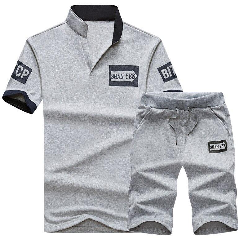 2019 Summer Men Leisure Sports Suit T-shirt Jogging Suits Teenager Short Sleeve Shorts Two-Piece Set Men'S Wear