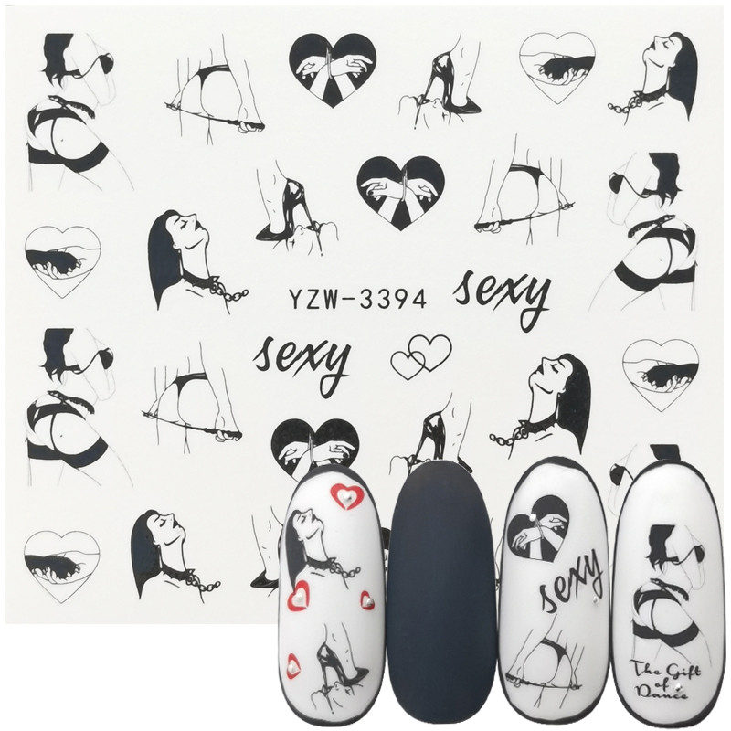 1 Sheet Fashion Sexy Girl Nail Art Charm DIY Watermark Decals Nail Art Sticker NEW Polish Foil Slider Decoration Accessories