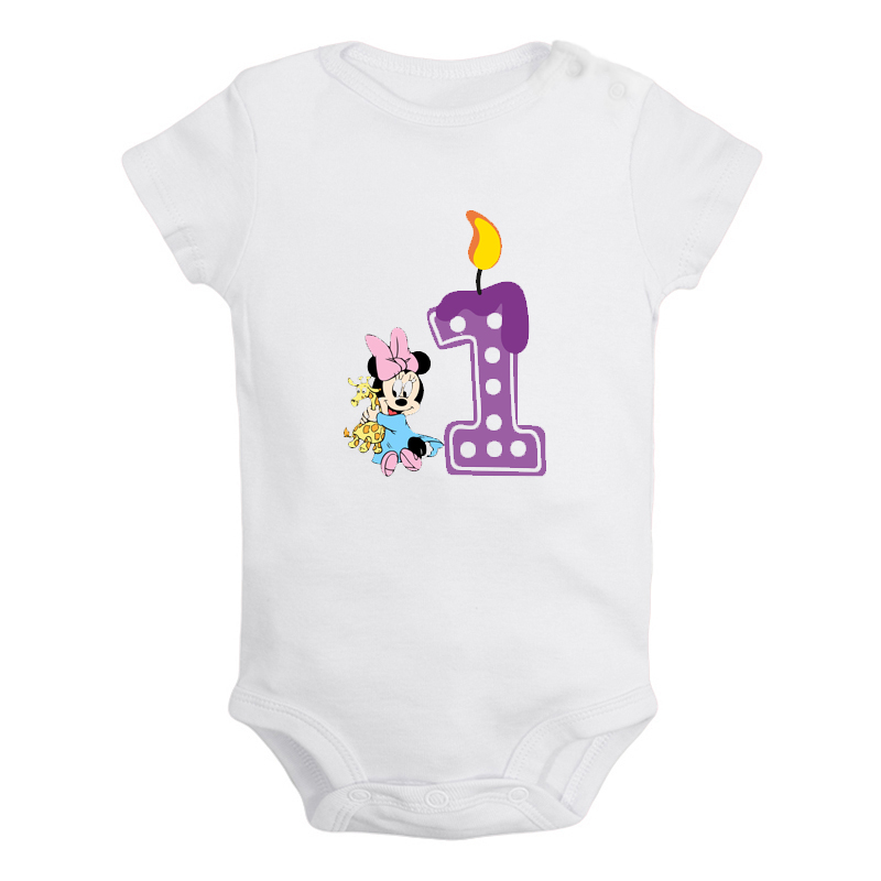 I'm 1 Year Old Cute Little Mouse 1st Birthday Candle Newborn Baby Girl Boys Clothes Short Sleeve Romper Jumpsuit Outfits Present