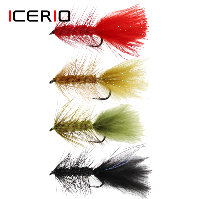 ICERIO 6PCS Wooly Bugger Streamers Fishing Fly Lures Olive Red Black Saltwater Fly Tying Hook Trout Flies Bait