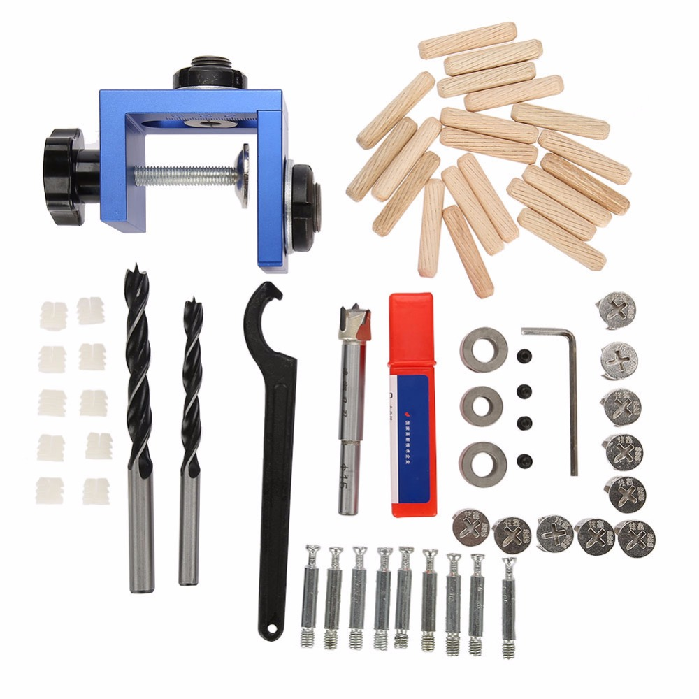 Practical Blue Wood Dowel Hole Drilling Guide Jig Kit Woodworking Carpentry Positioner Tool With Hole Cutter