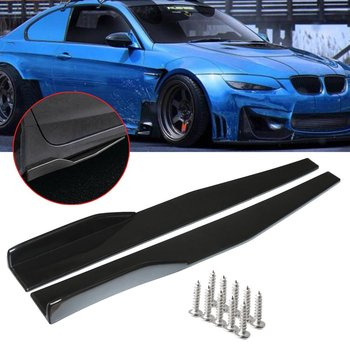 2pcs 74.5cm Universal Car Side Skirt Rocker Splitter Winglet Side Wing Bumper Lip Bumper Black Fiber Look Side Skirt image