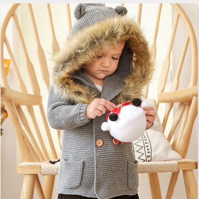 2020 New Winter Baby Boys Girls Knitted Cardigan Jackets Autumn Warm Infant Baby Fur Hooded Sweaters Kids Long Sleeve Coat 6