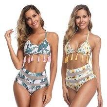 купить Sexy Bikinis Women Swimsuit High Waist Bathing Suit Swim Print Tassel Halter Push Up Bikini Set Swimwear Beachwear по цене 648.06 рублей