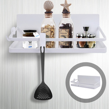 1 Set Kitchen Magnetic Spice Rack Wall-Mounted Storage Holder with 2 Hooks