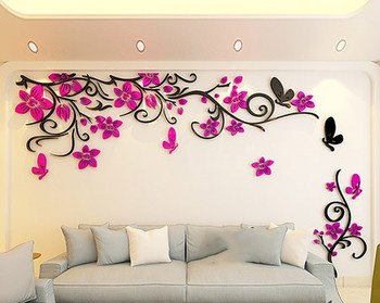 DIY Removable Vinyl Flower Wall Sticker Modern Decals For Wall Decor TV Background Decoration Mural Wallpaper For Living Room 20